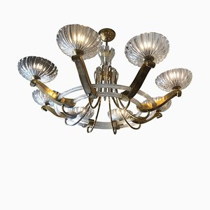 Art Deco Brass and Blown Glass Chandelier, 1930s