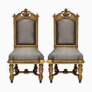 Antike Napoleon III Stühle mit wasservergoldetem Gestell, 1860er, 2er Set