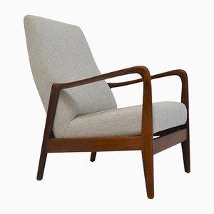 Italienischer Armlehnstuhl aus Baumwolle & Teak von Gio Ponti für Cassina, 1960er