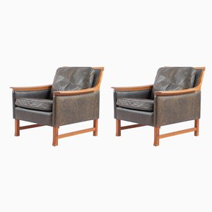 Danish Teak and Aniline Leather Lounge Chairs, 1960s, Set of 2