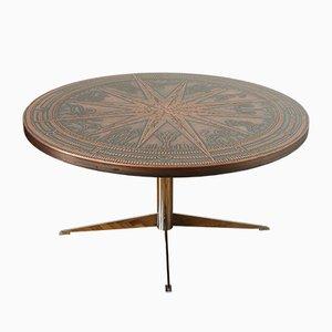 Tavolino da caffè in rame e metallo cromato, Germania, anni '60