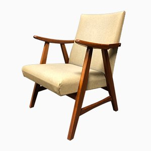 Mid-Century Dutch Skai and Teak Armchair, 1950s