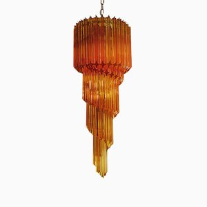 Vintage Italian Glass and Metal Chandelier, 1983