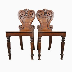 Antique William IV Oak Hall Chairs, Set of 2