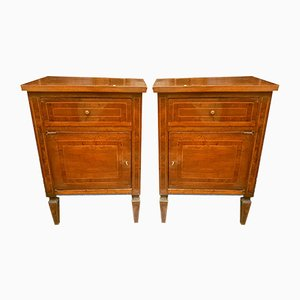 Antique French Walnut Nightstands, Set of 2