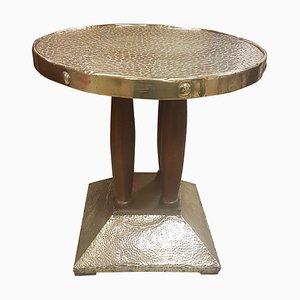 Table d'Appoint Sécessionniste Antique en Chêne et Laiton