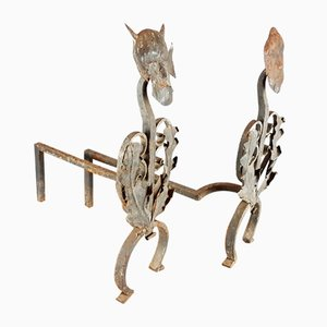 Antique Wrought & Cast Iron Fire Dogs, Set of 2