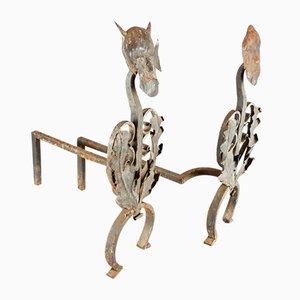 Perros de fuego antiguos de hierro fundido y forjado. Juego de 2