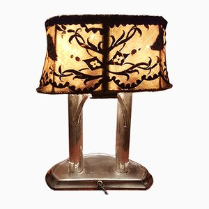 Fabric and Silver Plated Table Lamp, 1930s
