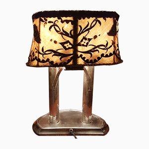 Lámpara de mesa de plata y tela, años 30