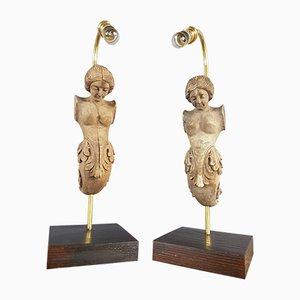 Lampes de Bureau Antiques en Bois Sculpté et Moulé, Set de 2