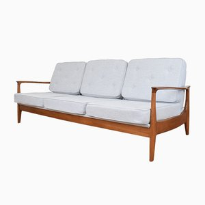 German Cherry and Fabric Sofa by Eugen Schmidt for Soloform, 1960s