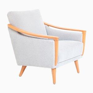 Mid-Century Teak & Velvet Lounge Chair, 1950s
