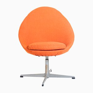 Mid-Century Drehstuhl in Orange, 1950er