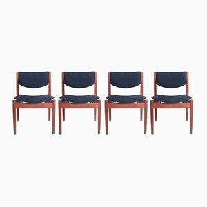 Esszimmerstühle aus Teakholz, 1950er, 4er Set