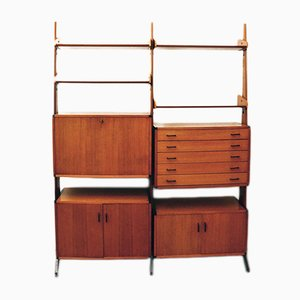 Italian Brass and Teak Wall Unit by Vittorio Dassi for Dassi, 1960s