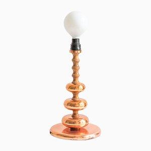 Lámpara de mesa Mid-Century de cobre, años 60