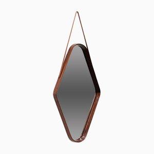 Italienischer Mid-Century Spiegel mit Rahmen aus Teakholz, 1950er