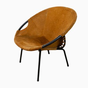 German Suede Balloon Armchair by Lusch Erzeugnis for Lusch & Co, 1960s