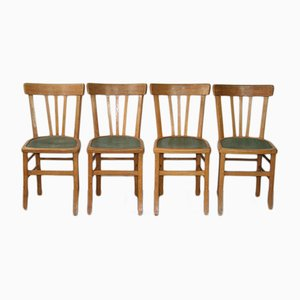 Mid-Century Industrial French Wooden Bistro Chairs, 1950s, Set of 4