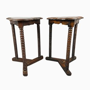Arts and Crafts Style Oak Bobbin Side Tables, 1920s, Set of 2