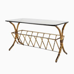 Regency Style Italian Faux Bamboo Brass Coffee Table, 1970s