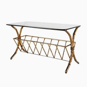 Table Basse Style Regency en Faux Bambou et Laiton, Italie, 1970s