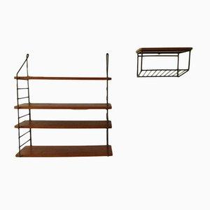 Scandinavian Modern Metal and Wood Shelves, 1960s, Set of 2