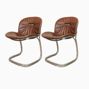 Sabrina Chrome and Leather Dining Chairs by Gastone Rinaldi for Rima, 1970s, Set of 2