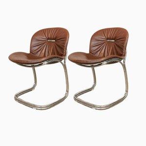 Sabrina Esszimmerstühle aus Chrom & Leder von Gastone Rinaldi für Rima, 1970er, 2er Set