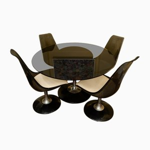 Oval Smoked Glass Tulip Dining Set from Chomcraft, 1970s