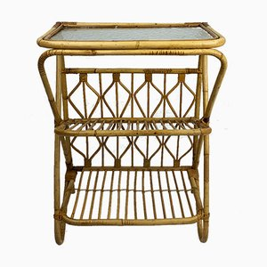 Rattan Side Table & Magazine Rack, 1950s