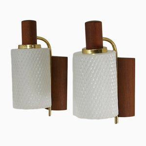 Danish Brass, Glass, and Teak Sconces, 1960s, Set of 2