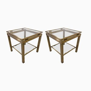 French Brass & Cut Glass Side Tables, 1980s, Set of 2