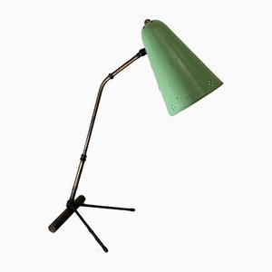 German Brass & Green Metal Table Lamp by Heinz Vetter for Trieschmann, 1952