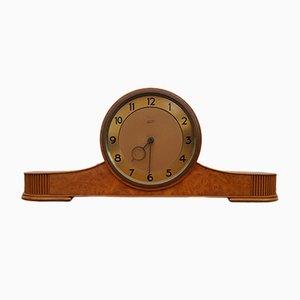 Reloj danés vintage de latón y teca, años 60