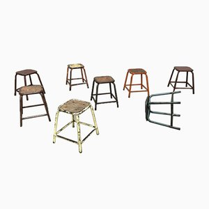 French Industrial Multicolored Stools, 1960s, Set of 8