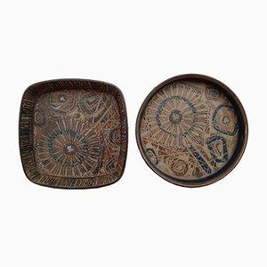 Platos daneses de cerámica de Nils Thorsson para Royal Copenhagen, años 60. Juego de 2