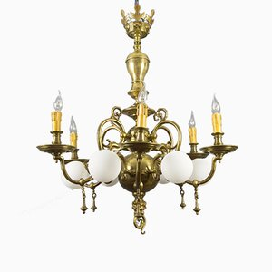 Antique Baroque Brass and Bronze Chandelier