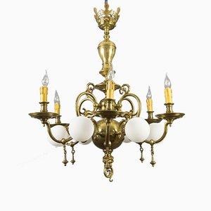 Lustre Baroque Antique en Laiton et Bronze
