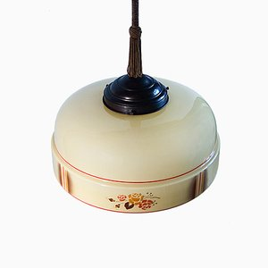 Lampe à Suspension Art Déco en Verre et Laiton, 1940s