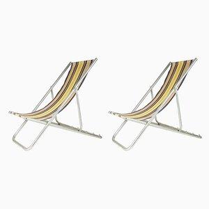 Sillas de escritorio italianas de tela y aluminio, años 50. Juego de 2
