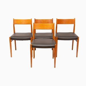 Model 418 Teak & Leather Dining Chairs by Arne Vodder form Sibast, 1960s, Set of 4