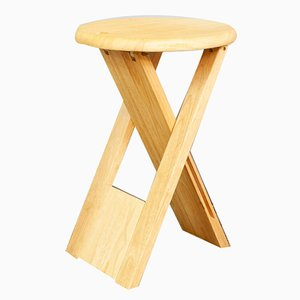 Beech Folding TS Stool by Roger Tallon for Sentou, 1970s
