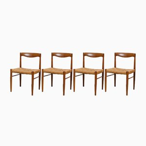 Teak and Palisander Dining Chairs by H. W. Klein for Bramin, 1960s, Set of 4