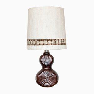 Vintage German Brown Glazed Ceramic Table Lamp, 1970s