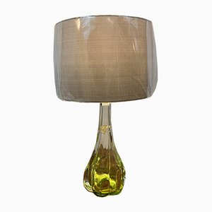Mid-Century Lime Green Table Lamp from Val Saint Lambert, 1950s