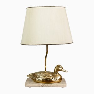 Vintage French Brass and Marble Duck Lamp, 1970s