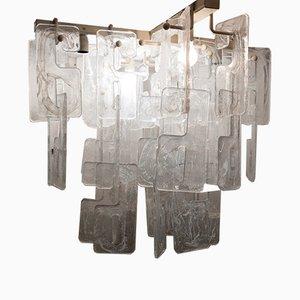Lampadario in metallo, vetro di Murano e vetro soffiato a mano di Carlo Nason per Mazzega, Italia, anni '60