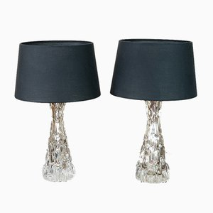 Chrome & Molded Glass Table Lamps by Carl Fagerlund for Orrefors, 1960s, Set of 2